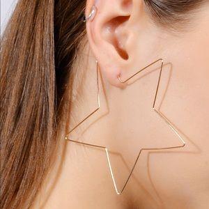🌟Chic Gold Big Star Hoop Earrings